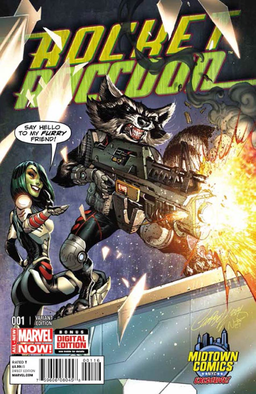 Rocket Raccoon Vol 2 #1 Cover B Midtown Exclusive J Scott Campbell Color Variant Cover