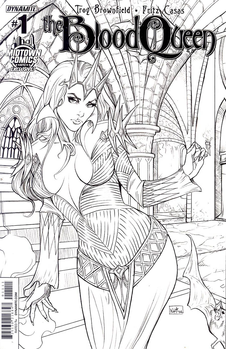 Blood Queen #1 Cover E Midtown Exclusive Nei Ruffino Black & White Ultra-Limited Cover