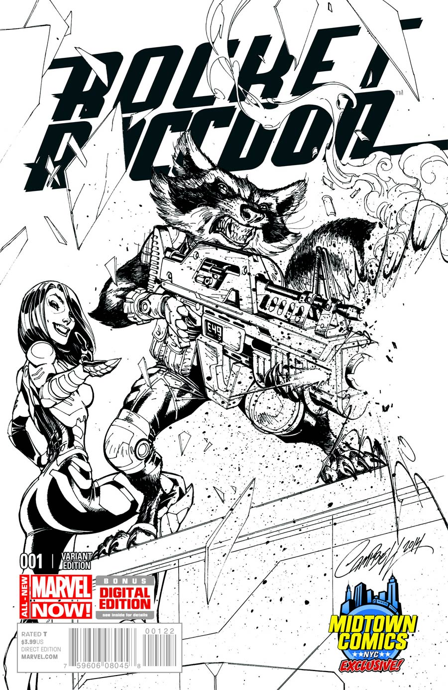 Rocket Raccoon Vol 2 #1 Cover C Midtown Exclusive J Scott Campbell Sketch Variant Cover