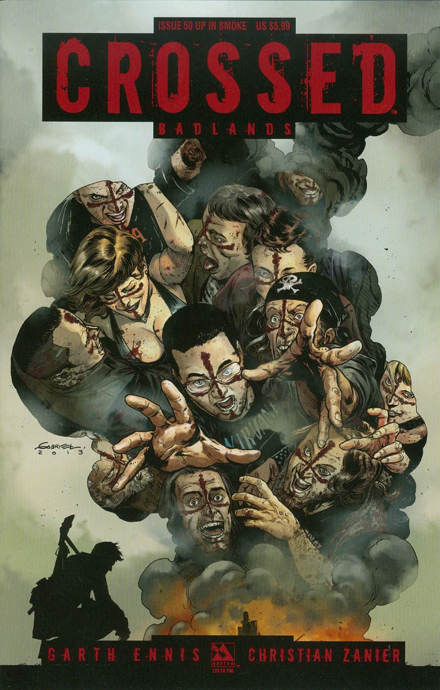 Crossed Badlands #50 Cover L Up In Smoke Cover