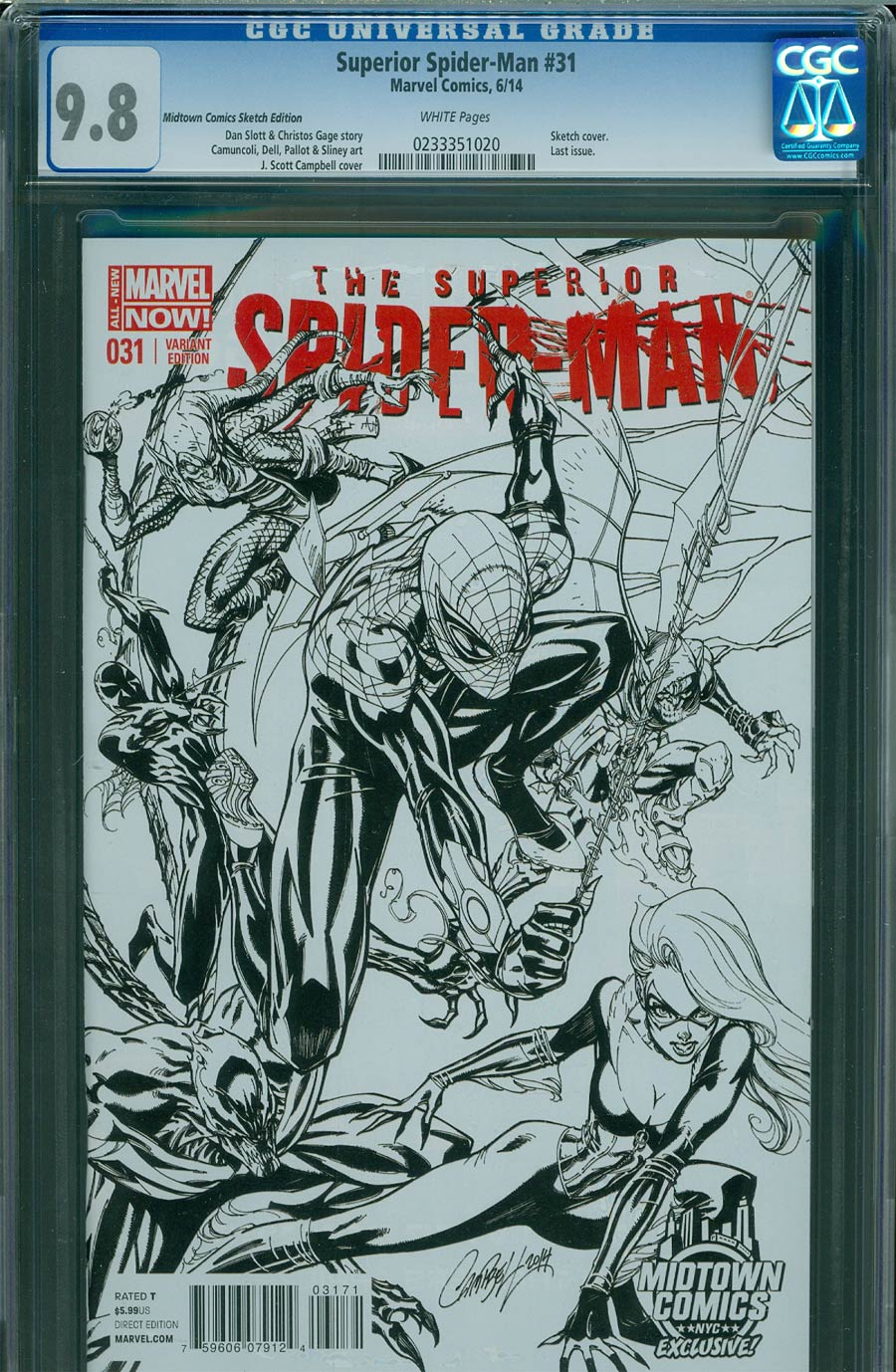 Superior Spider-Man #31 Cover I Midtown Exclusive J Scott Campbell Connecting Sketch Variant Cover CGC 9.8