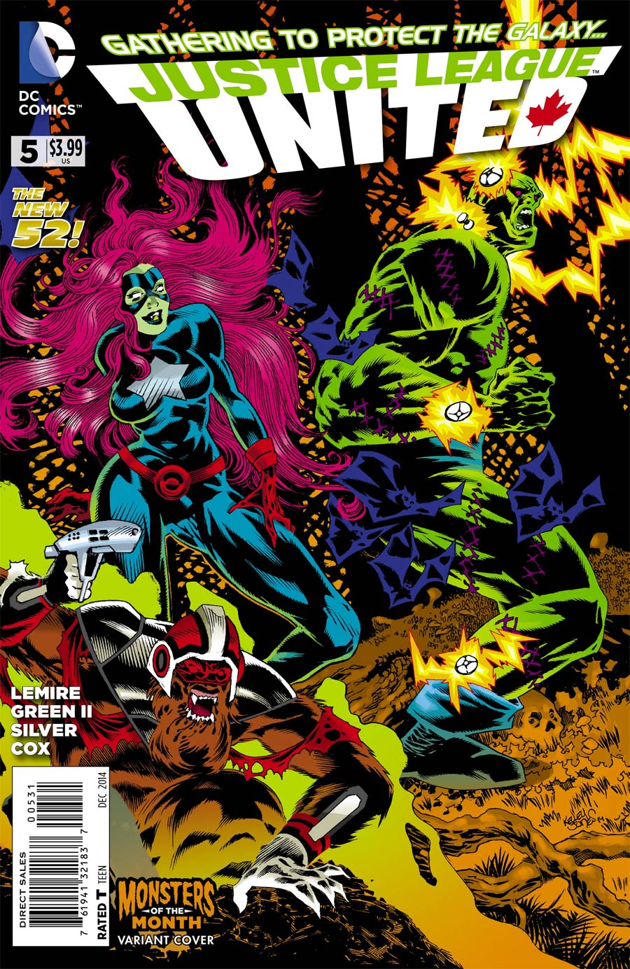 Justice League United #5 Cover B Variant Kelley Jones Monsters Cover
