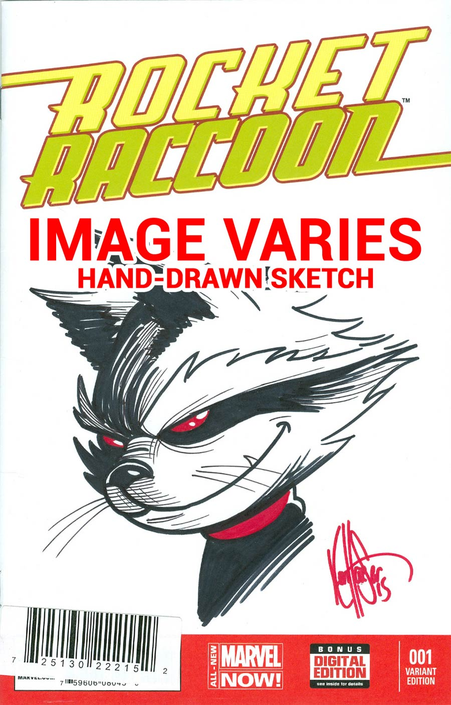Rocket Raccoon Vol 2 #1 Cover I DF Signed & Remarked Edition By Ken Haeser