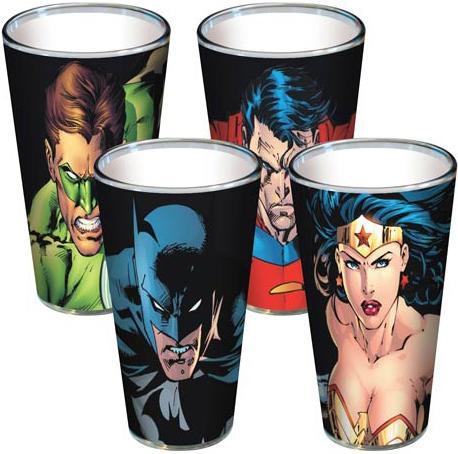 DC Comics Pint Glass 4-Pack Green Lantern Superman Batman Wonder Woman Gritty Faces