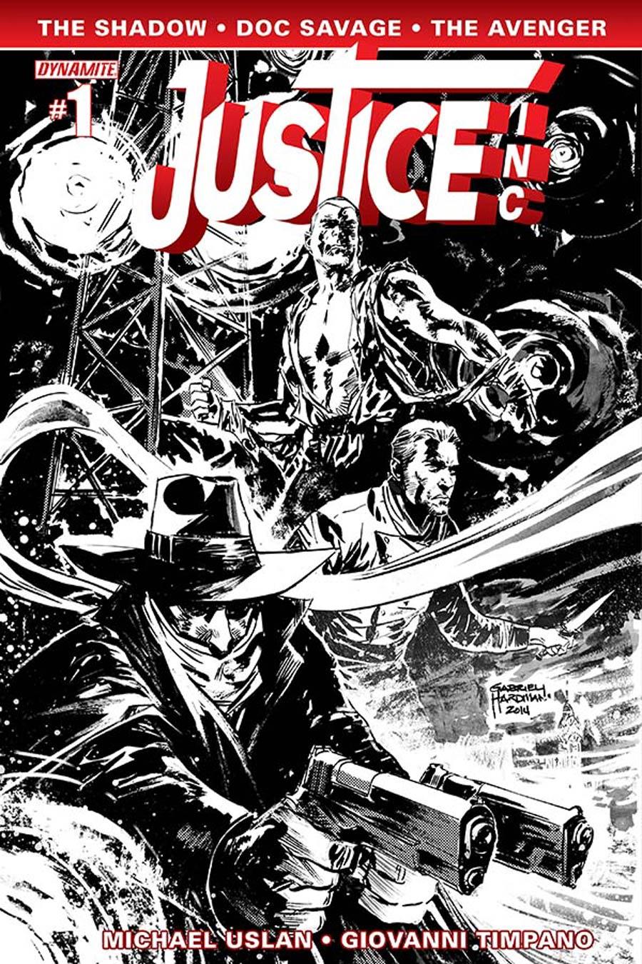 Justice Inc Vol 3 #1 Cover F Incentive Gabriel Hardman Black & White Cover