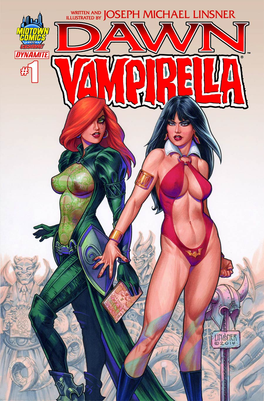 Dawn Vampirella #1 Cover B Midtown Exclusive Joseph Michael Linsner Color Variant Cover