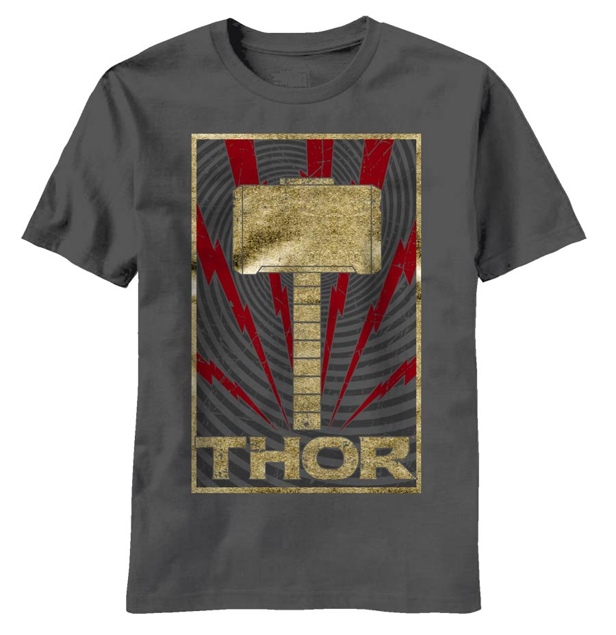 Thor Movie Golden Hammer Charcoal T-Shirt Large