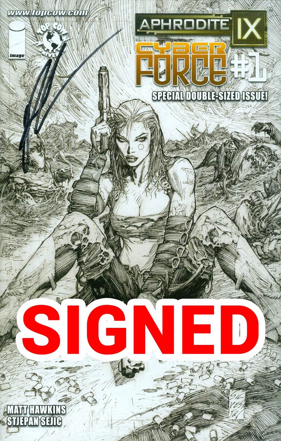 Aphrodite IX Cyberforce #1 Cover E Incentive Marc Silvestri Sketch Cover Signed By Matt Hawkins