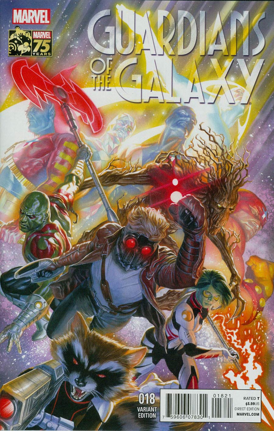 Guardians Of The Galaxy Vol 3 #18 Cover B Incentive Alex Ross 75th Anniversary Color Variant Cover (Original Sin Tie-In)