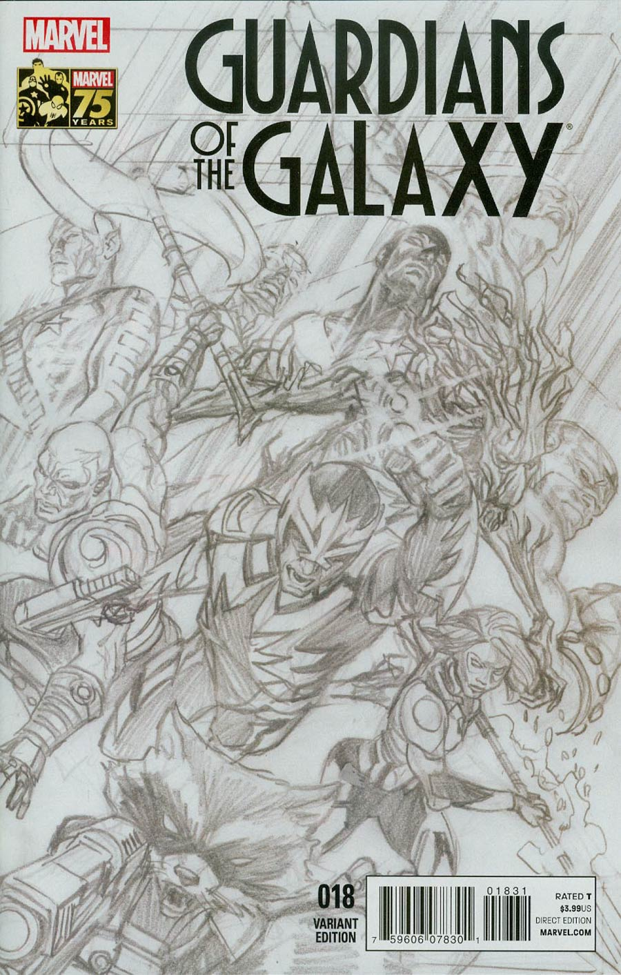 Guardians Of The Galaxy Vol 3 #18 Cover C Incentive Alex Ross 75th Anniversary Sketch Variant Cover (Original Sin Tie-In)