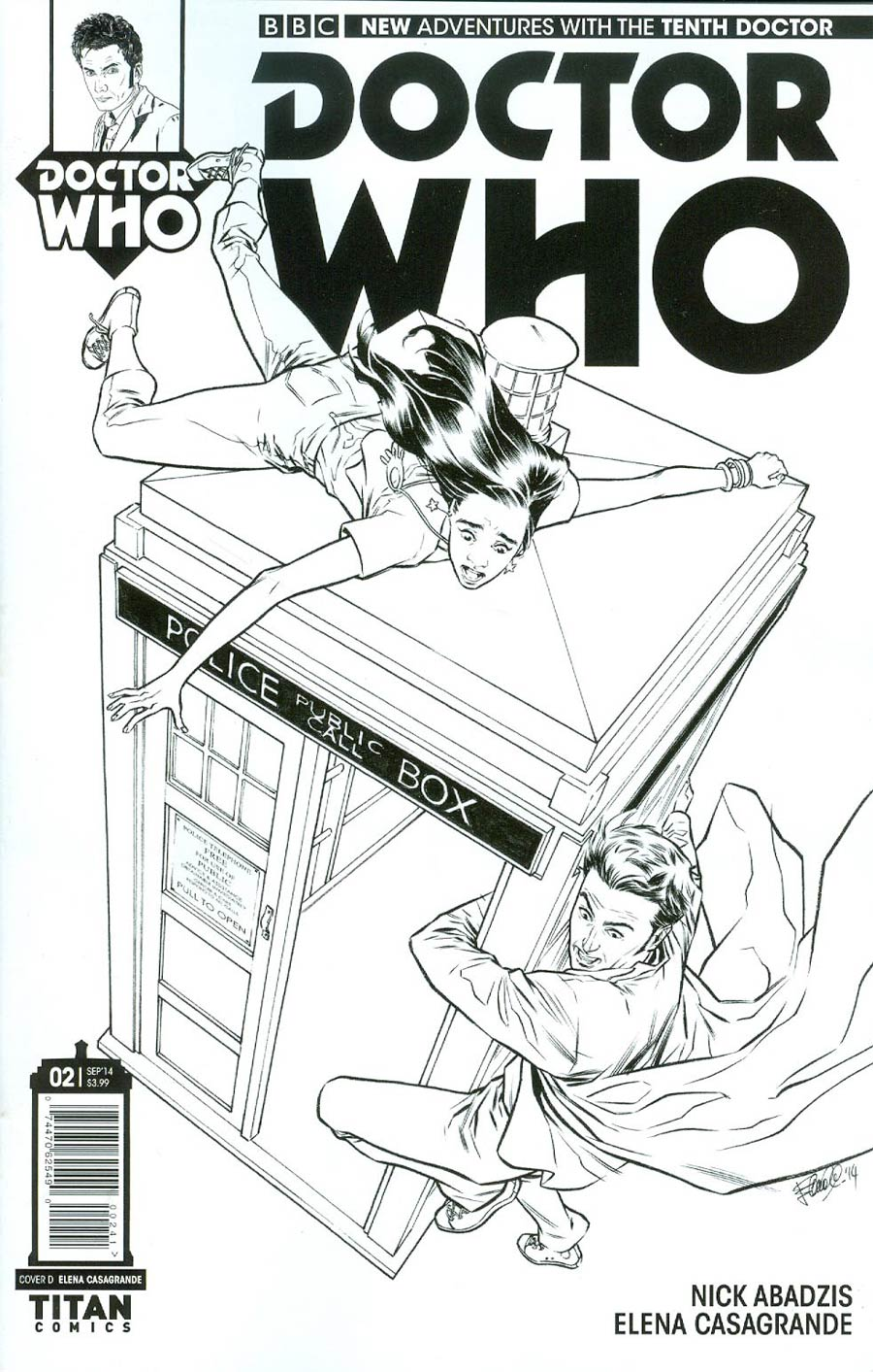 Doctor Who 10th Doctor #2 Cover D Incentive Elena Casagrande Black & White Variant Cover