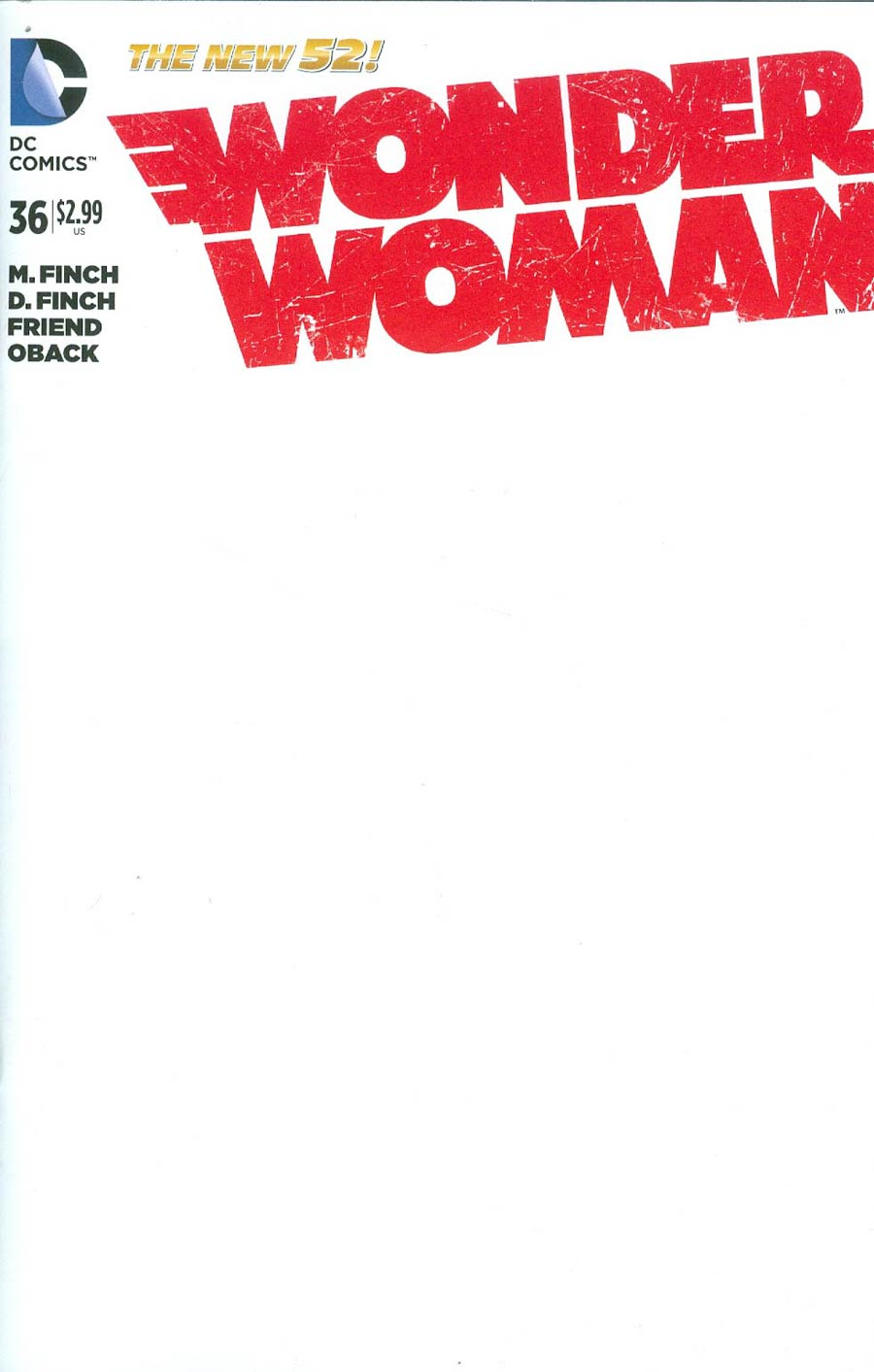 Wonder Woman Vol 4 #36 Cover C Variant Blank Cover