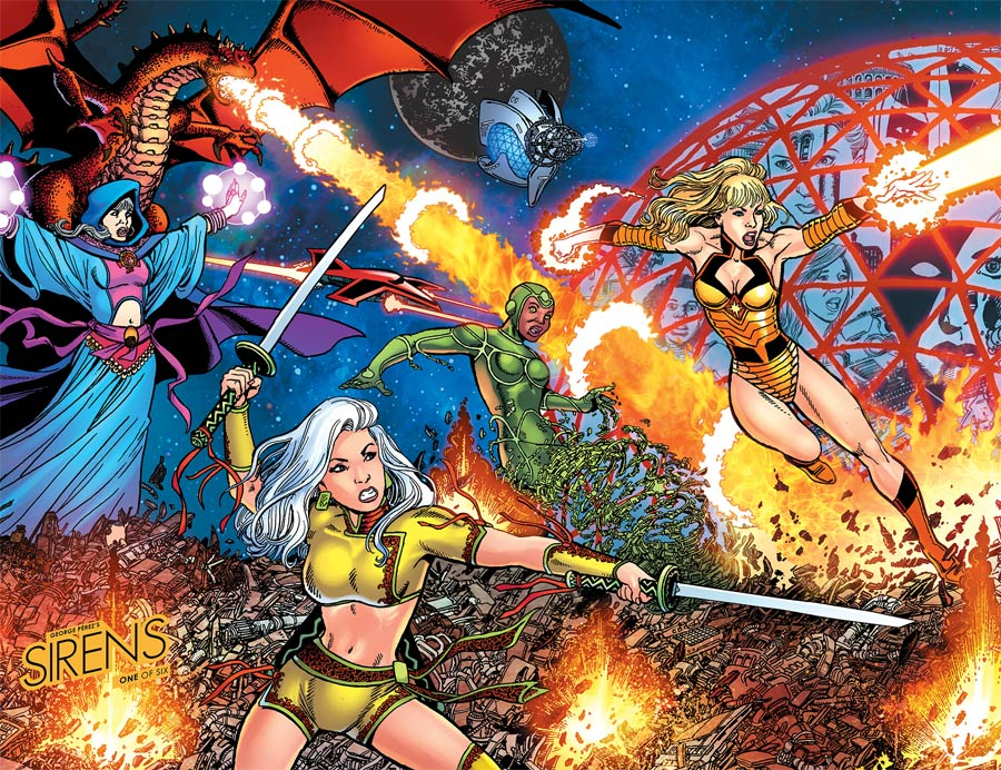 George Perezs Sirens #1 Cover C Incentive George Perez Wraparound Left Virgin Color Variant Cover