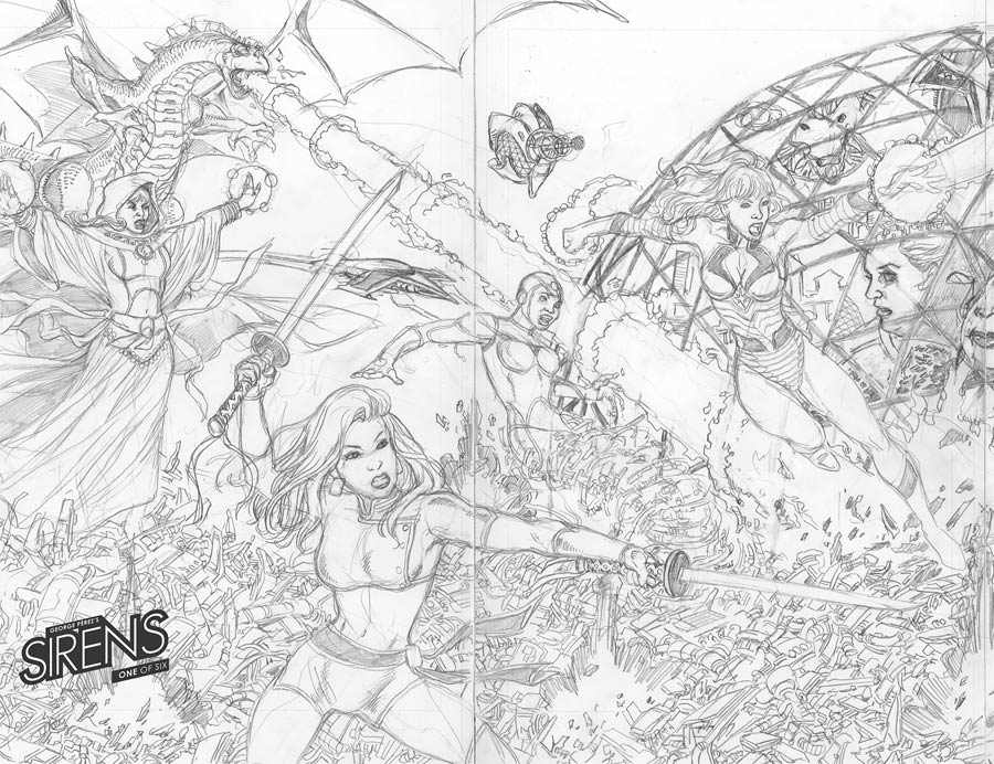 George Perezs Sirens #1 Cover E Incentive George Perez Wraparound Left Virgin Sketch Variant Cover