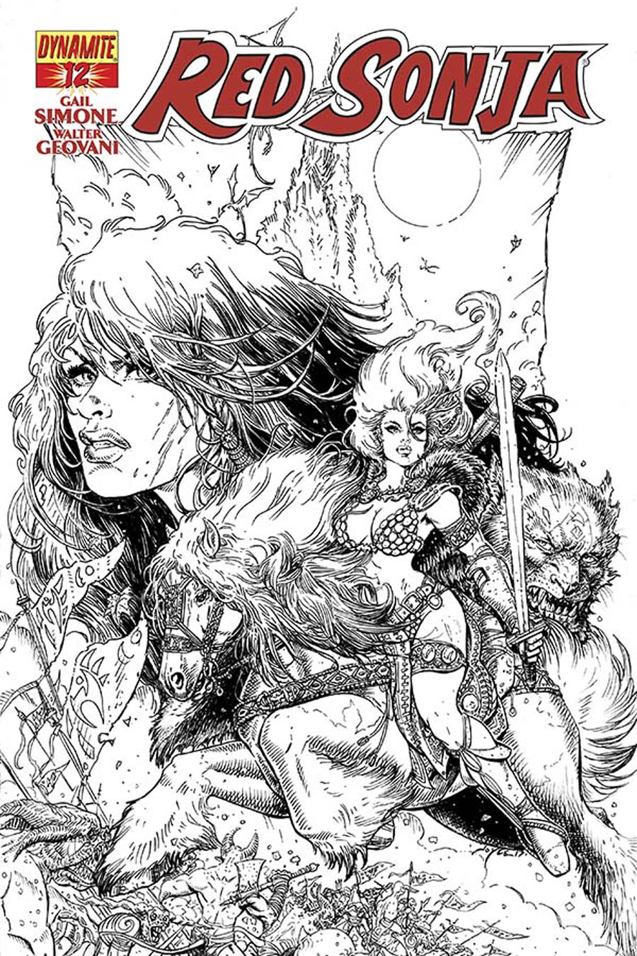Red Sonja Vol 5 #12 Cover E Incentive Joyce Chin Black & White Cover