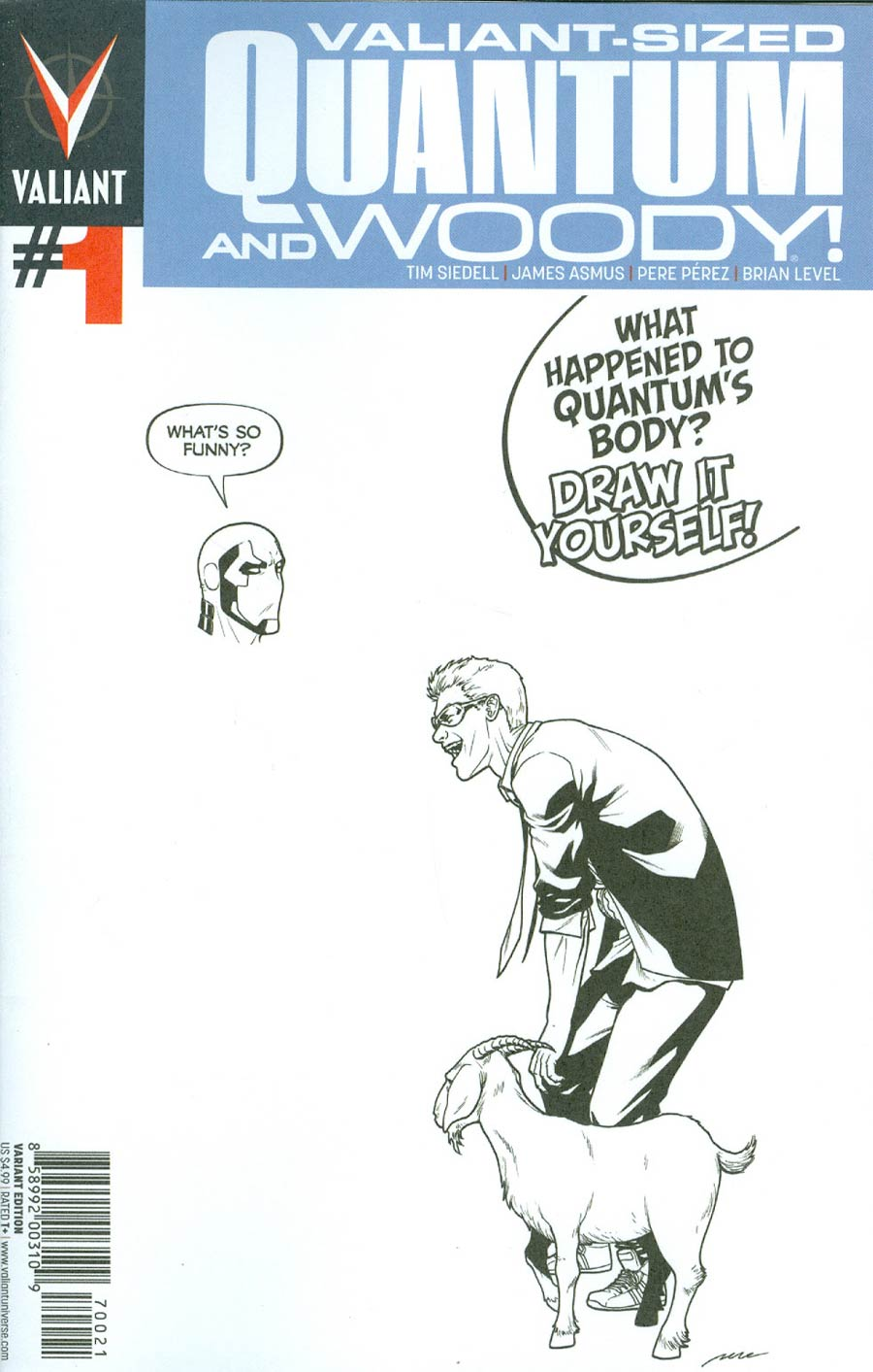 Valiant-Sized Quantum & Woody #1 Cover B Variant Pere Perez Draw Your Own Blank Cover