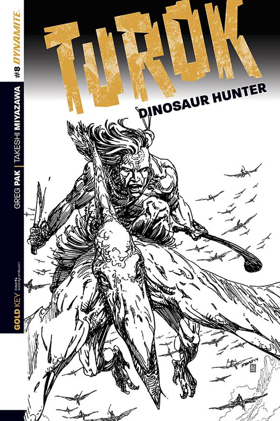Turok Dinosaur Hunter Vol 2 #8 Cover C Incentive Bart Sears Black & White Cover