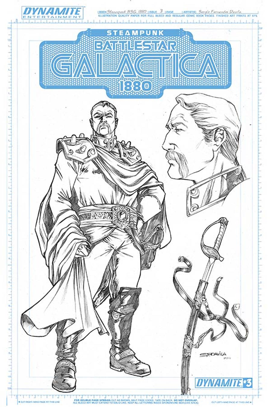 Steampunk Battlestar Galactica 1880 #3 Cover B Incentive Adama Concept Art Variant Cover