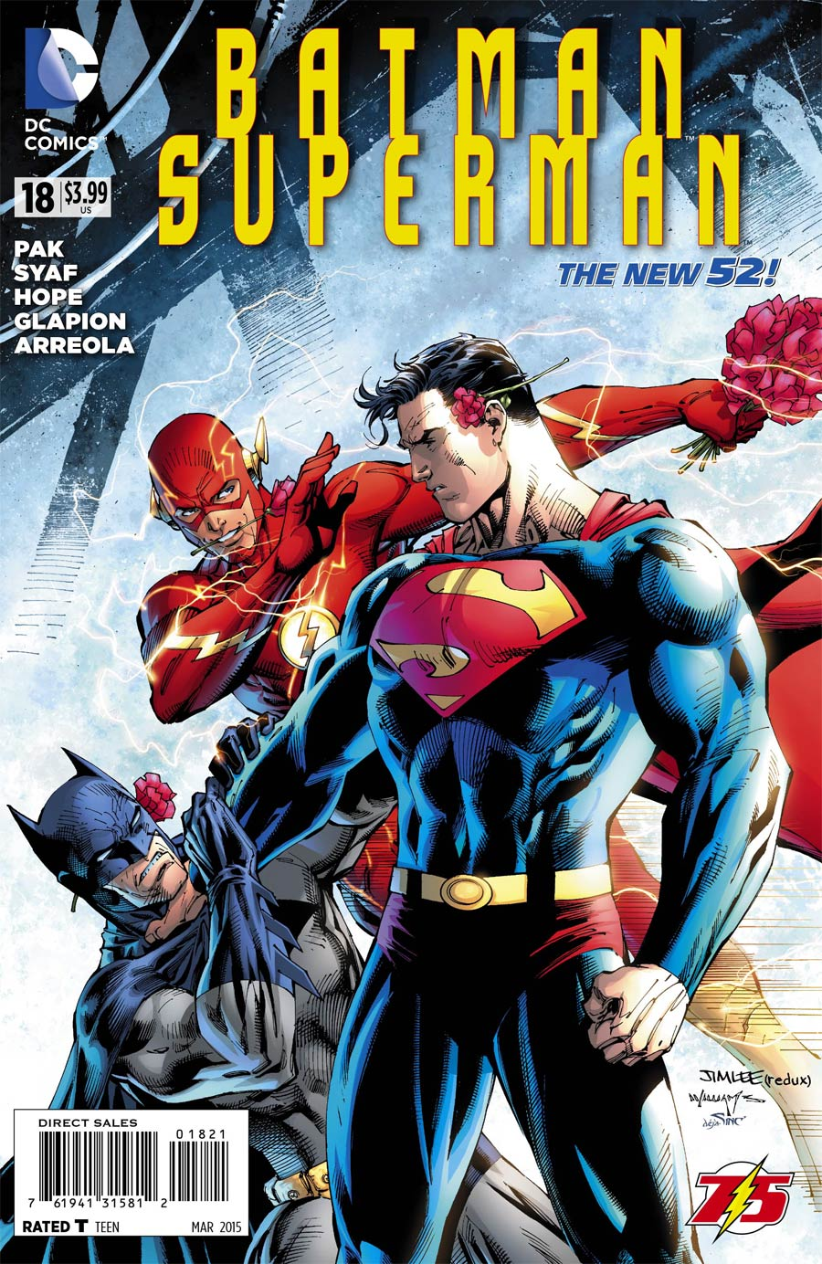 Batman Superman #18 Cover B Variant Jim Lee Flash 75th Anniversary Cover