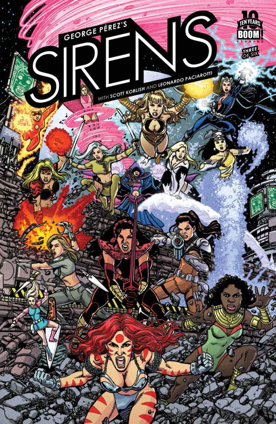 George Perezs Sirens #3 Cover A Regular George Perez Wraparound Cover