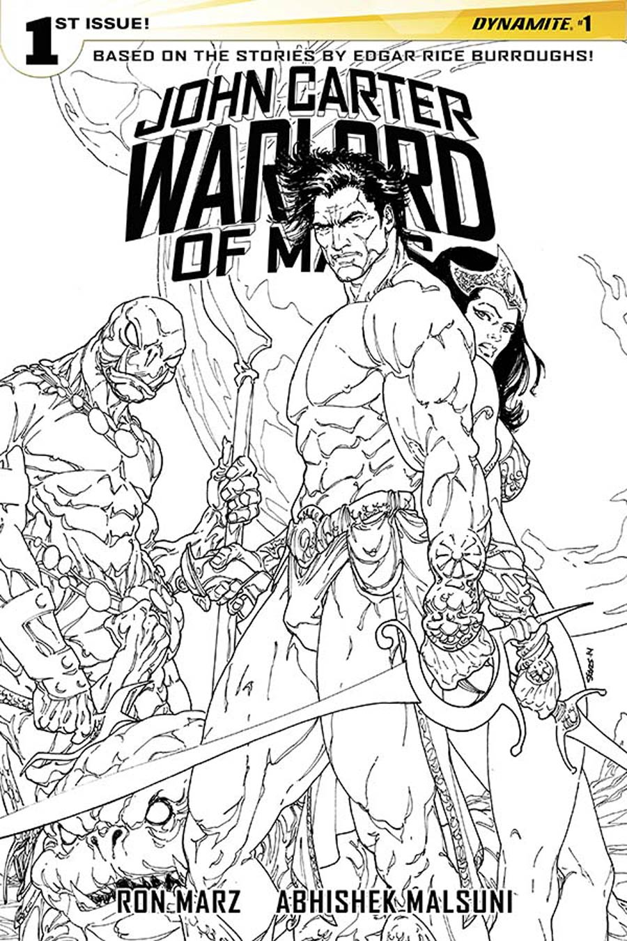 John Carter Warlord Of Mars Vol 2 #1 Cover N Incentive Bart Sears Black & White Cover