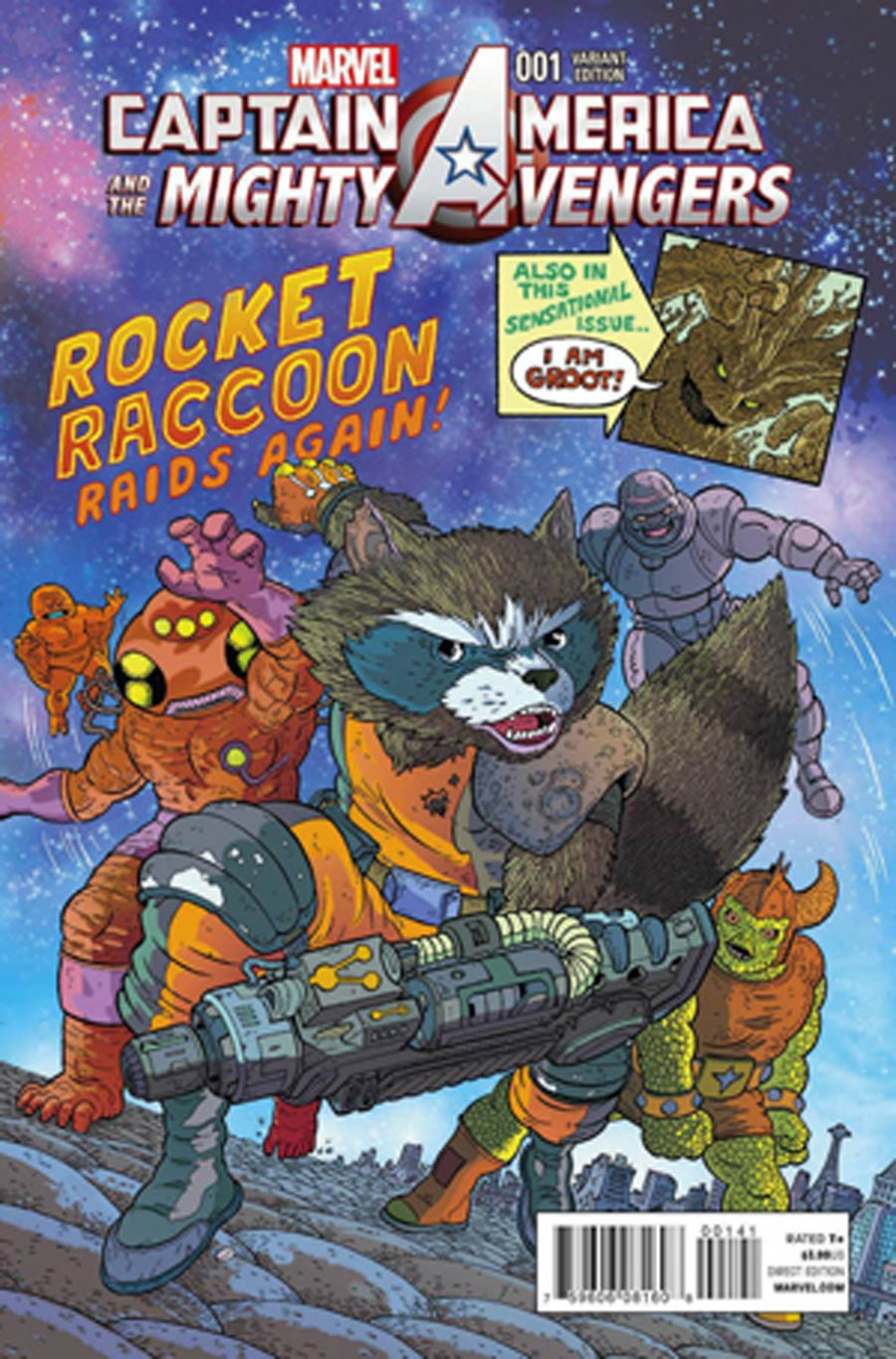 Captain America And The Mighty Avengers #1 Cover C Variant Rocket Raccoon & Groot Cover (AXIS Tie-In)