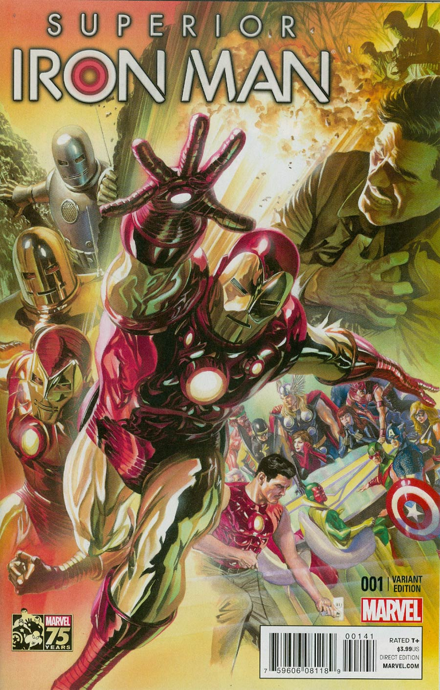 Superior Iron Man #1 Cover G Incentive Alex Ross 75th Anniversary Color Variant Cover (AXIS Tie-In)
