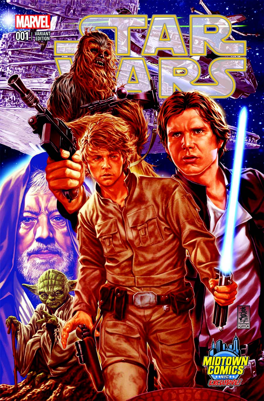 Star Wars Vol 4 #1 Cover B Midtown Exclusive Mark Brooks Connecting Color Variant Cover (Part 1 of 3)