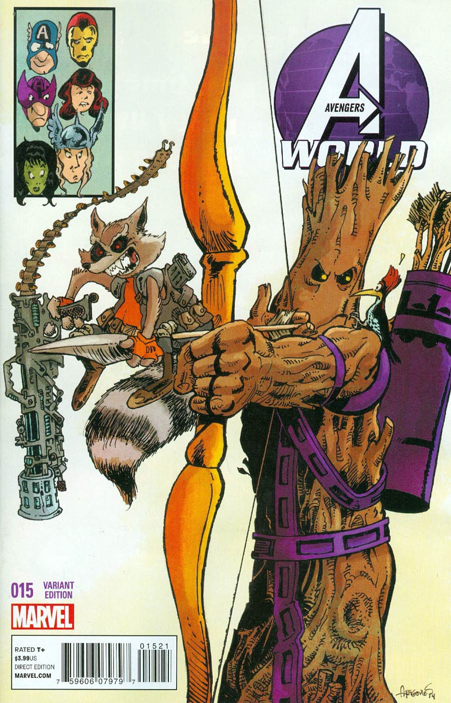 Avengers World #15 Cover B Variant Rocket Raccoon & Groot Cover (AXIS Tie-In)