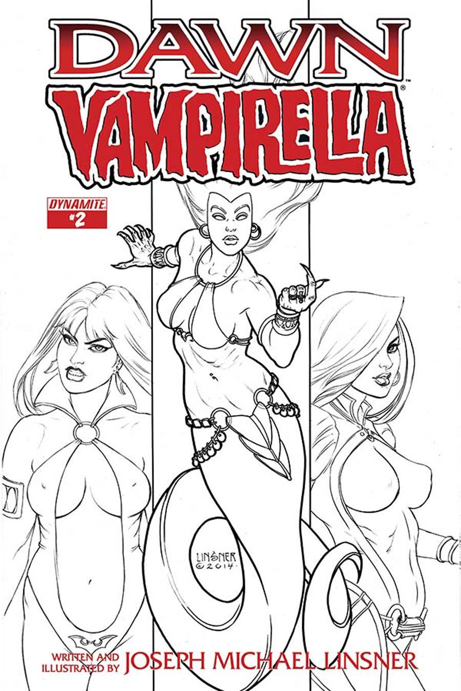 Dawn Vampirella #2 Cover B Incentive Joseph Michael Linsner Black & White Cover