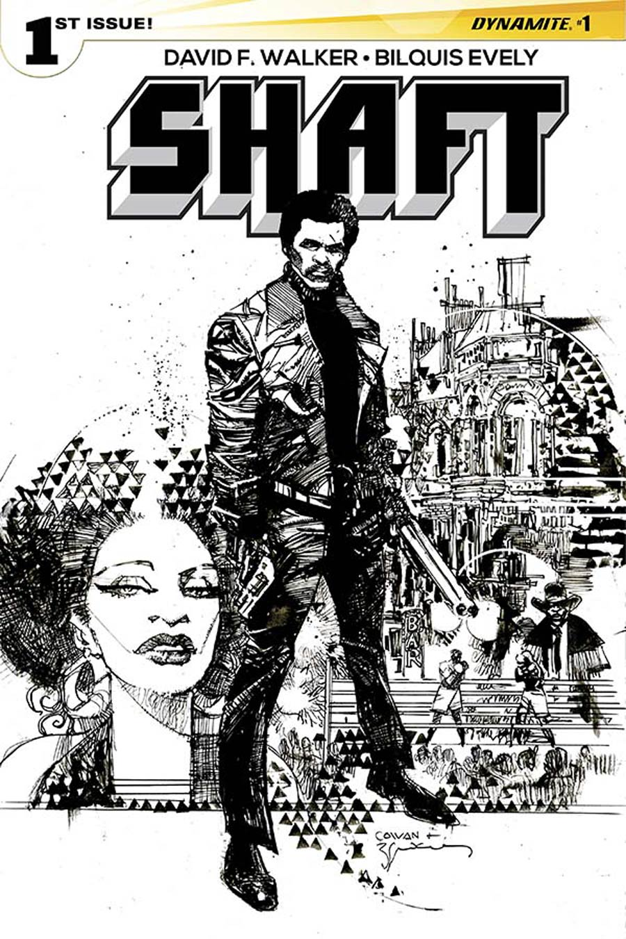 Shaft #1 Cover H Incentive Dennis Cowan Black & White Cover