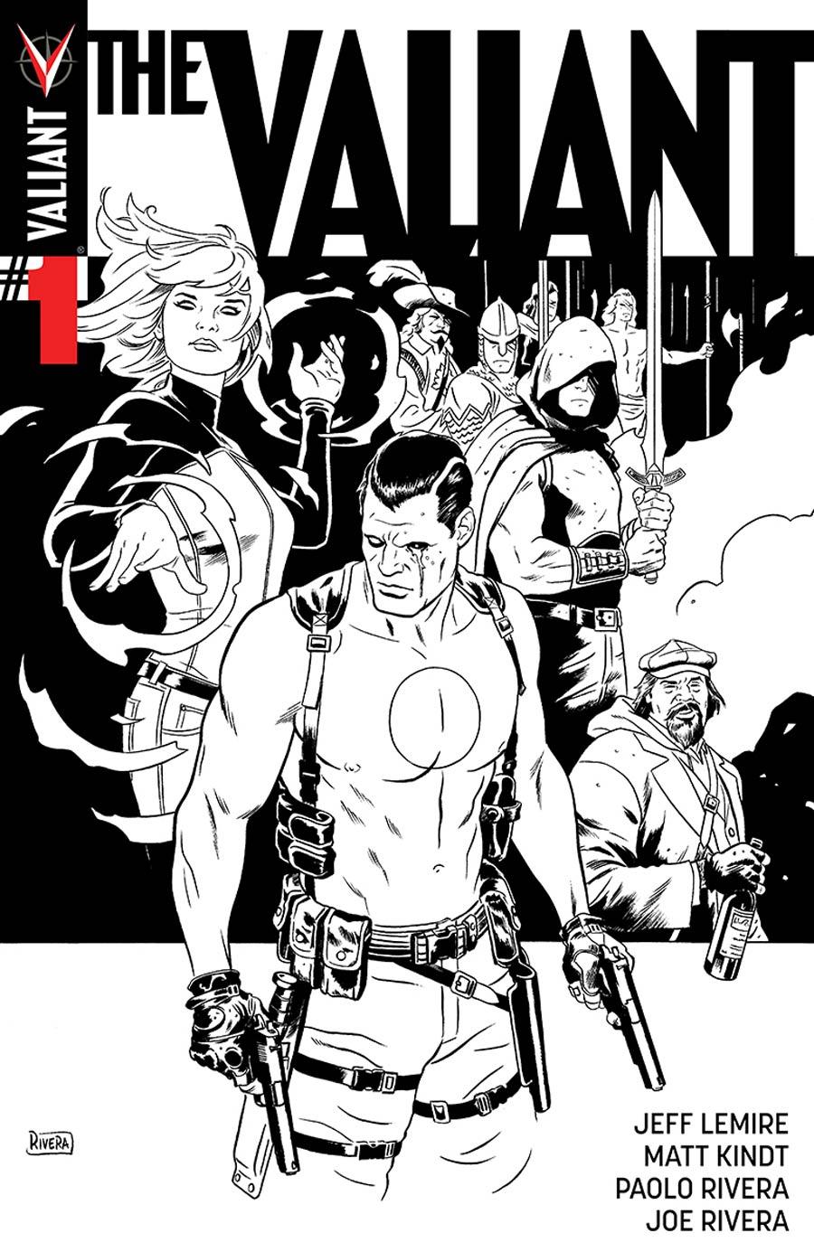 The Valiant #1 Cover F Incentive Paolo Rivera Black & White Cover