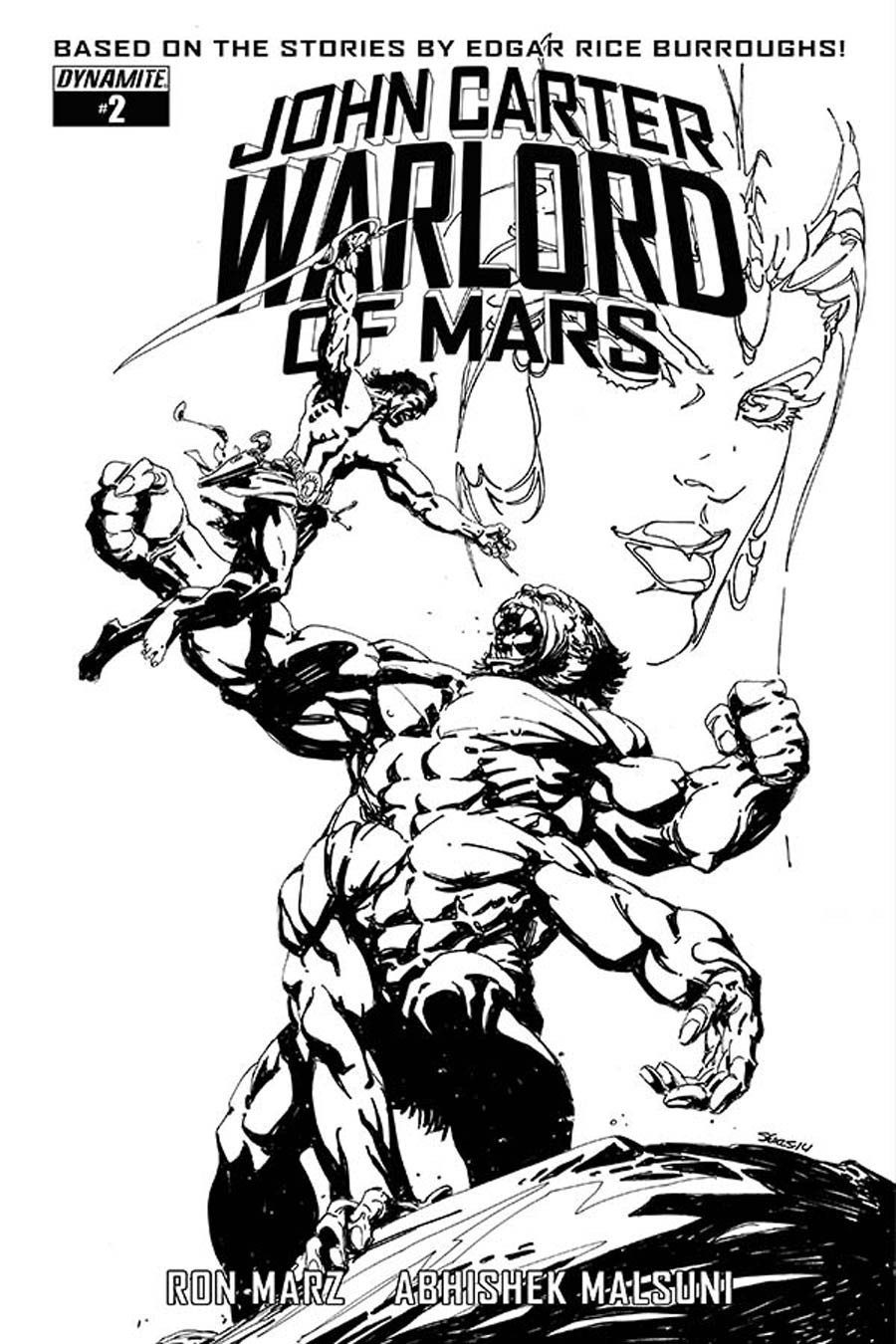 John Carter Warlord Of Mars Vol 2 #2 Cover E Incentive Bart Sears Black & White Cover