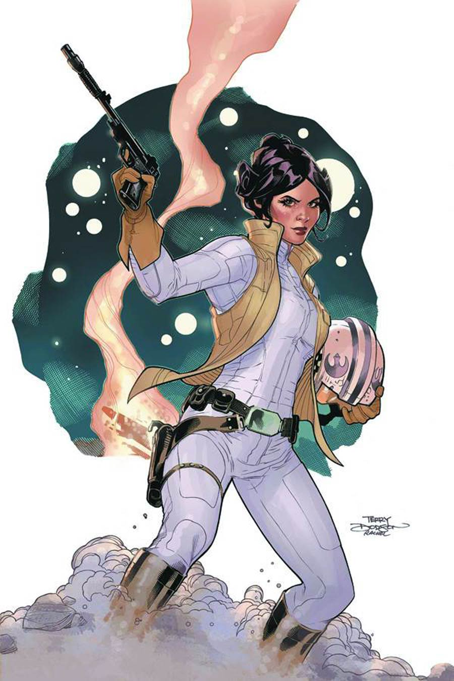 Princess Leia #1 Cover T DF Lightsaber Silver Signed Edition By Terry Dodson