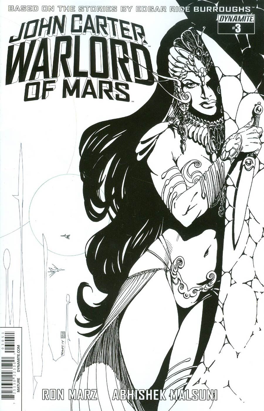 John Carter Warlord Of Mars Vol 2 #3 Cover E Incentive Bart Sears Black & White Cover