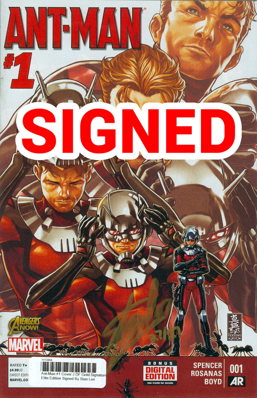 Ant-Man #1 Cover J DF Gold Signature Elite Edition Signed By Stan Lee