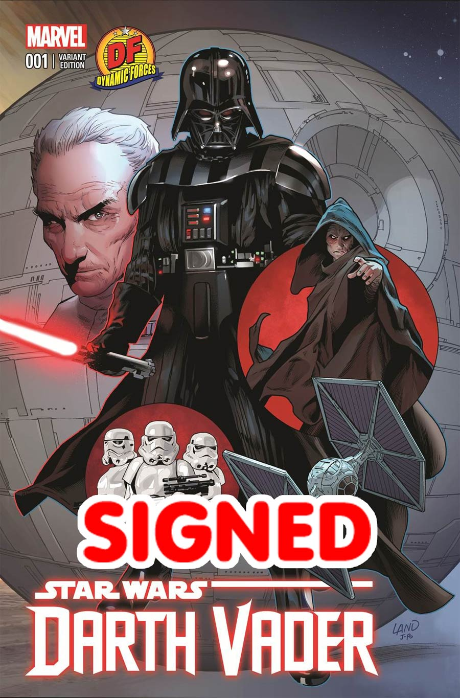 Darth Vader #1 Cover W DF Exclusive Greg Land Connecting Crimson Empire Red Variant Cover Signed By Greg Land (Part 2 of 3)