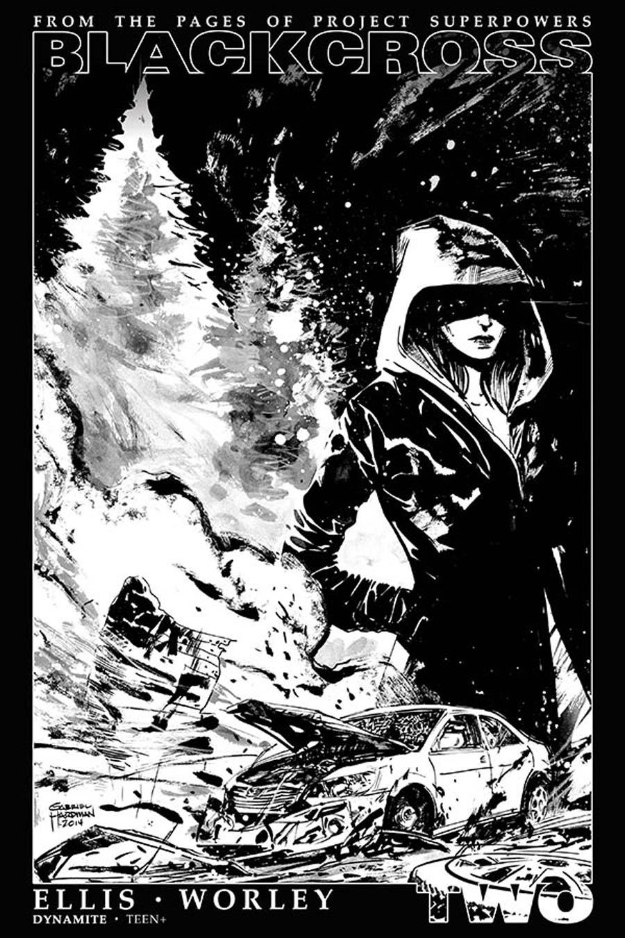 Project Superpowers Blackcross #2 Cover G Incentive Gabriel Hardman Black & White Cover