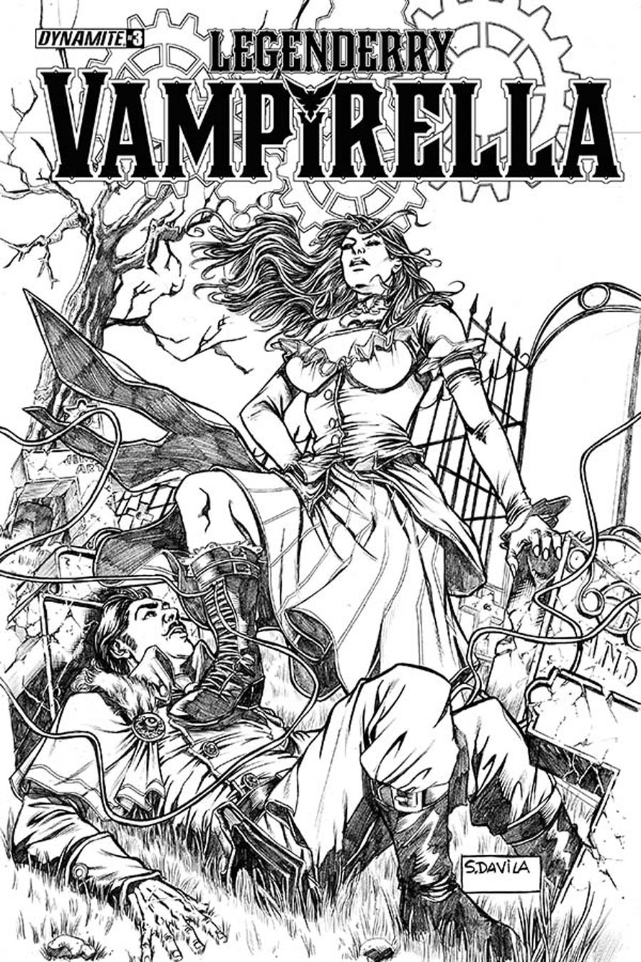 Legenderry Vampirella #3 Cover B Incentive Sergio Fernandez Davila Black & White Cover