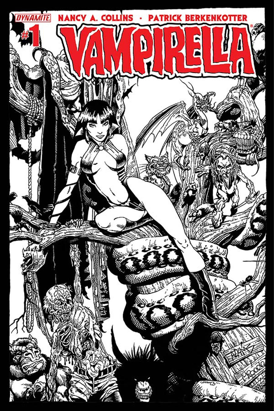 Vampirella Vol 5 #1 Cover W High-End Art Adams Black & White Ultra-Limited Variant Cover (ONLY 25 COPIES IN EXISTENCE!)