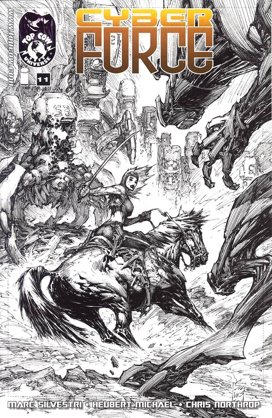 Cyberforce Vol 4 #11 Cover B Incentive Marc Silvestri Black & White Line Art Variant Cover