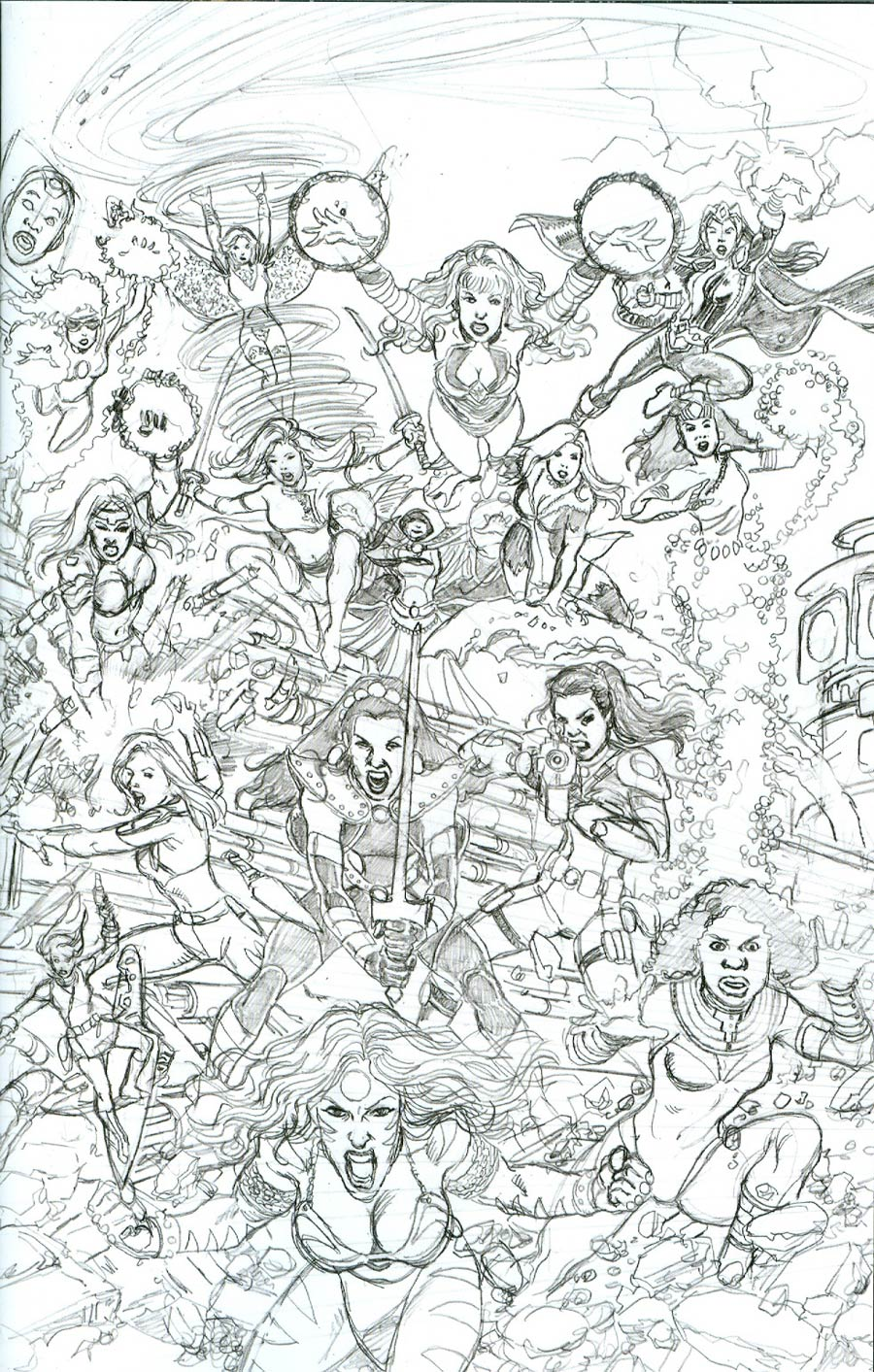 George Perezs Sirens #3 Cover C Incentive George Perez Sketch Virgin Variant Cover