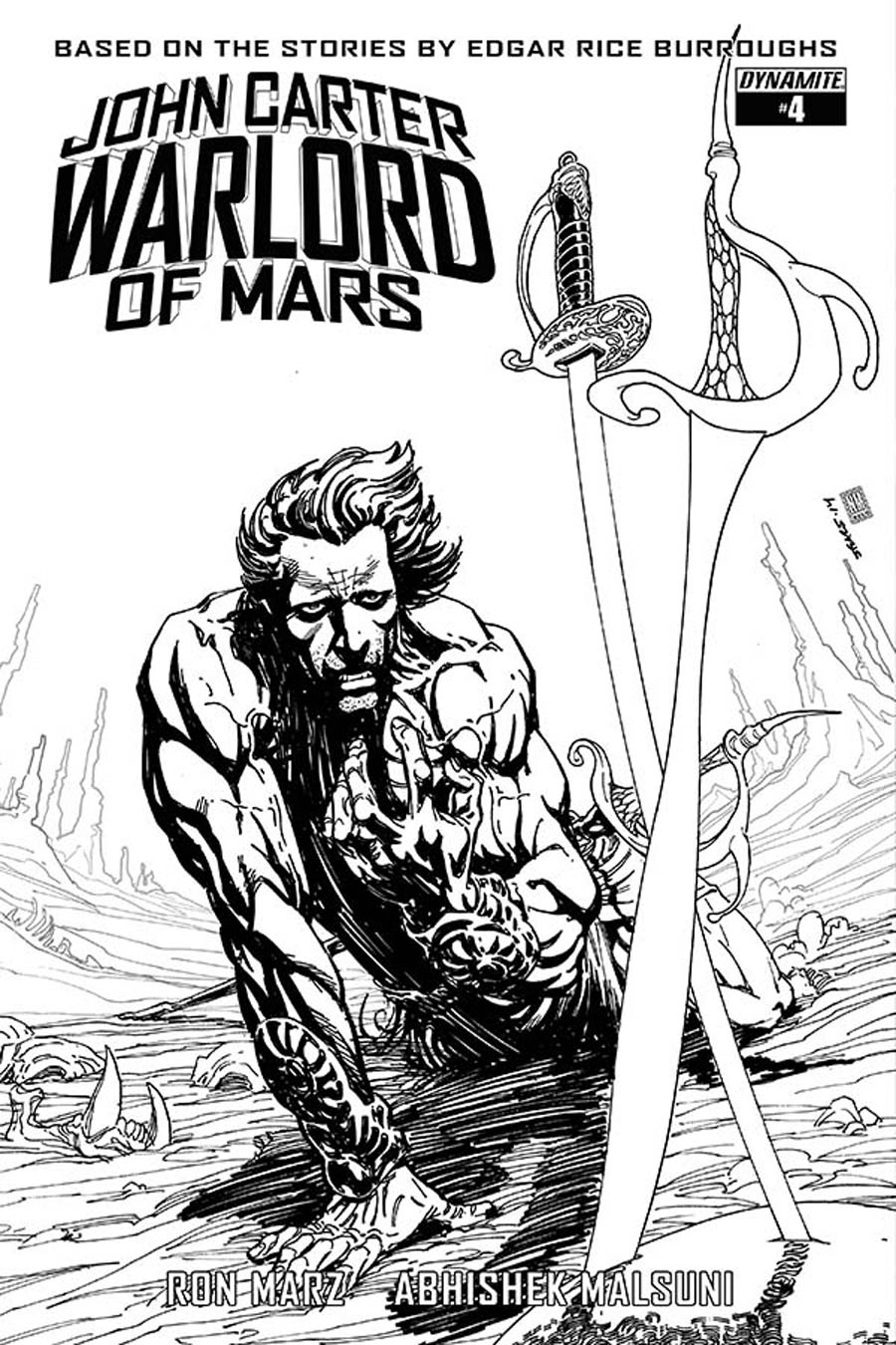 John Carter Warlord Of Mars Vol 2 #4 Cover E Incentive Bart Sears Black & White Cover