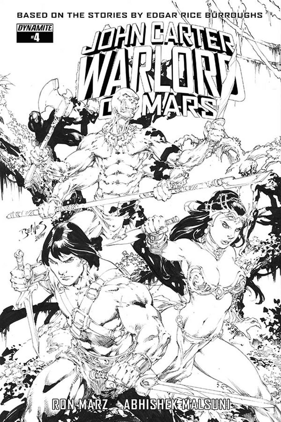 John Carter Warlord Of Mars Vol 2 #4 Cover F Incentive Ed Benes Black & White Cover