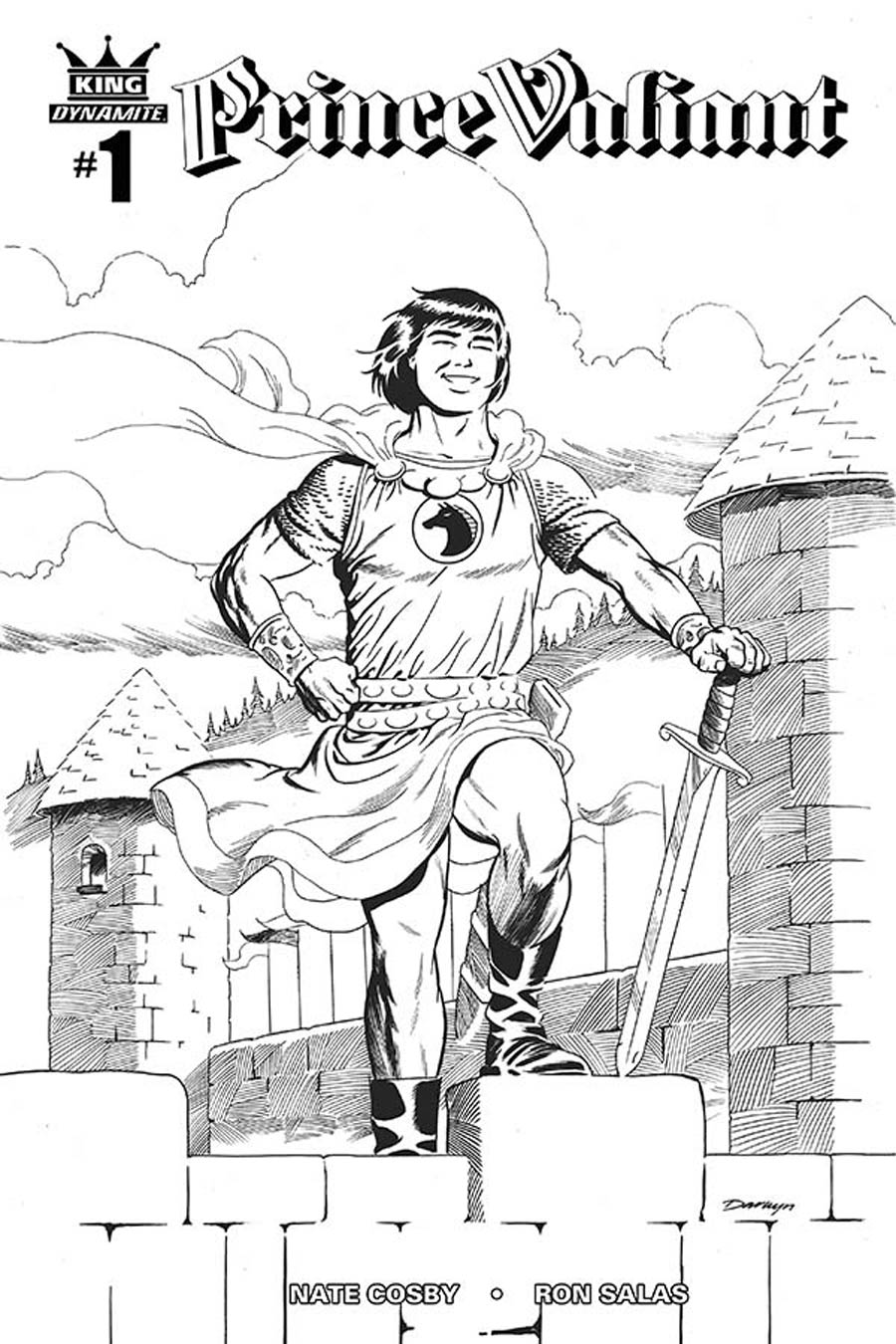 King Prince Valiant #1 Cover B Incentive Darwnyn Cooke Black & White Connecting Cover (3 Of 5)