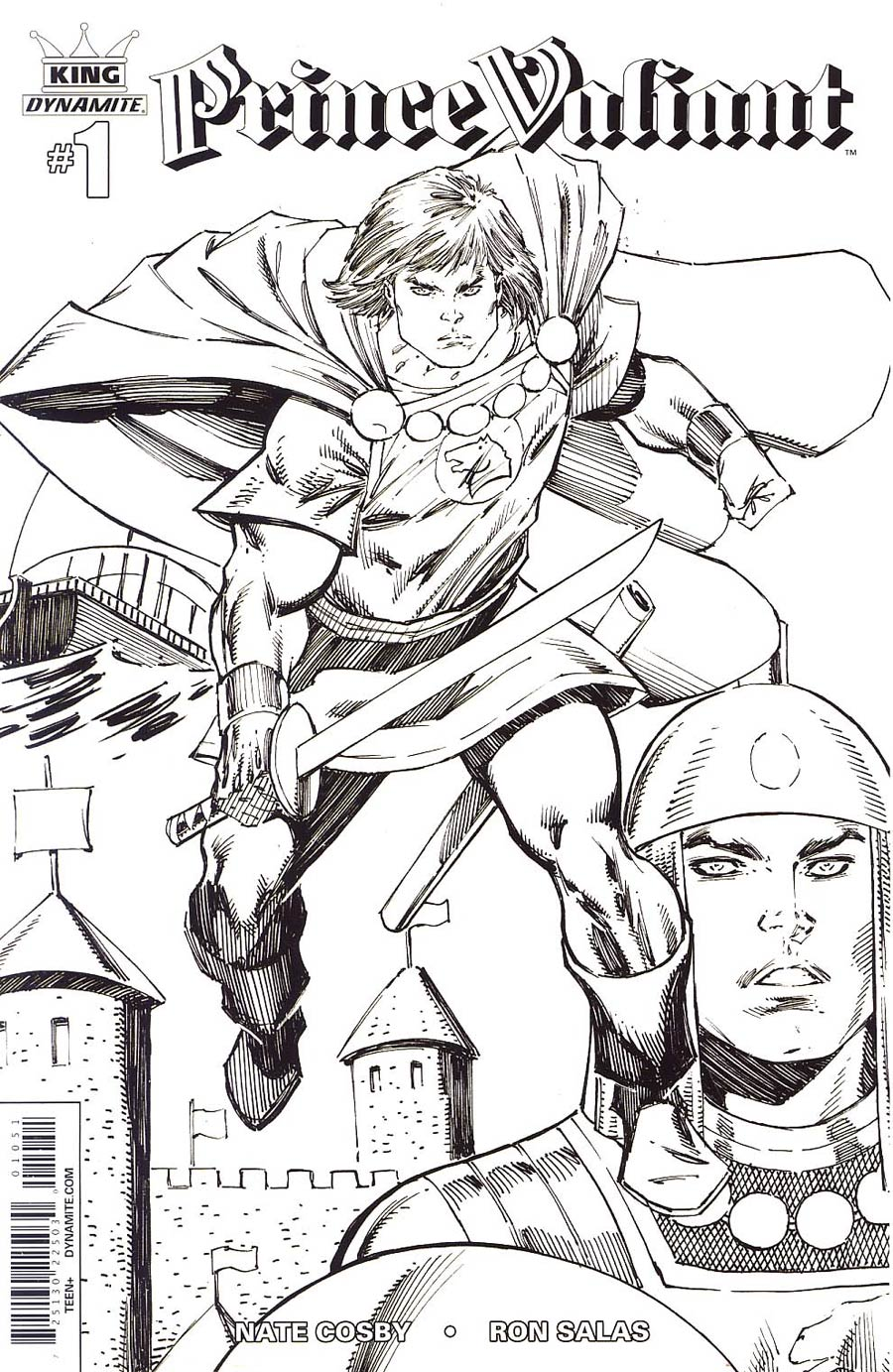 King Prince Valiant #1 Cover E Incentive Rob Liefeld Black & White Variant Cover
