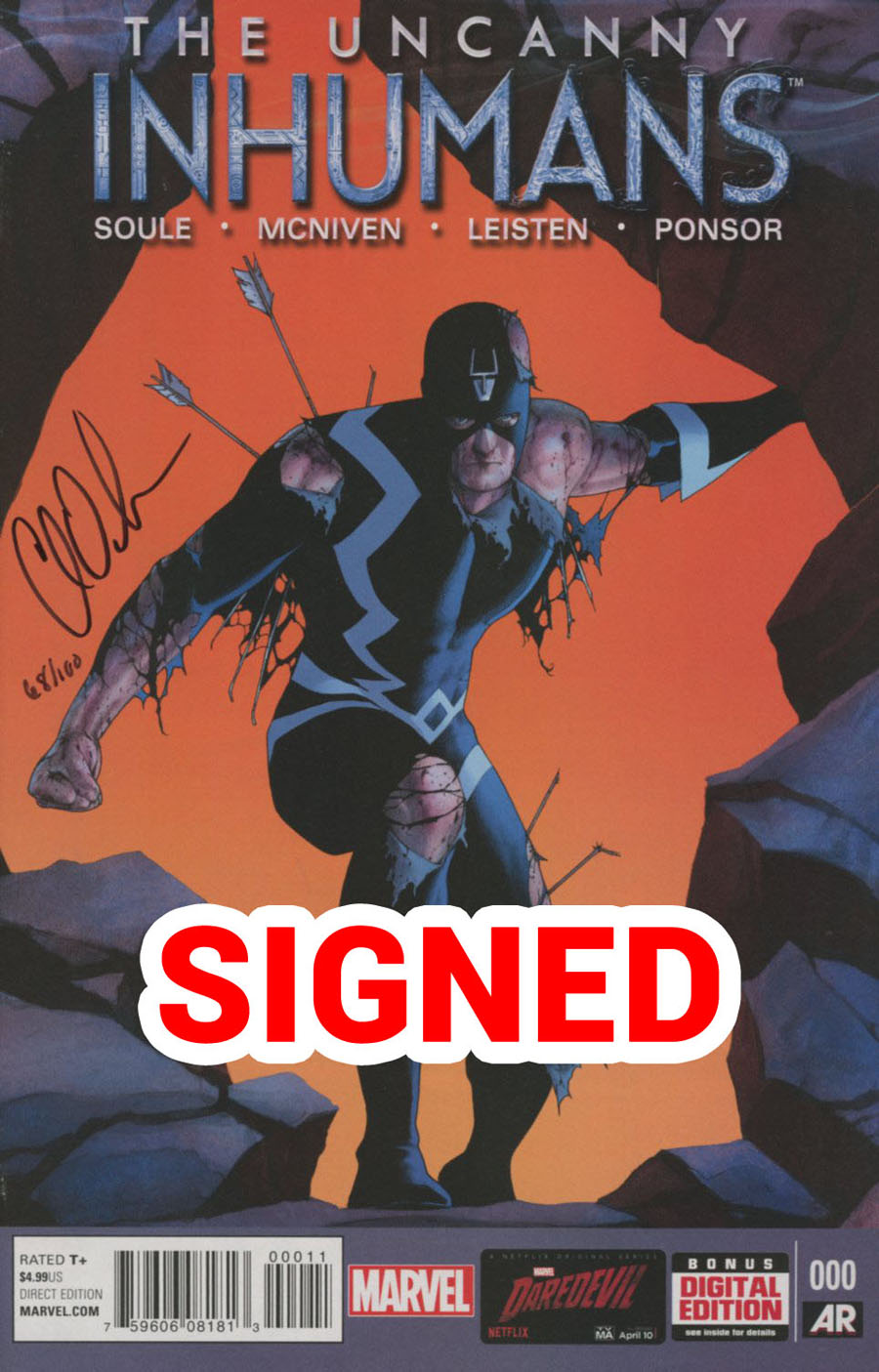 Uncanny Inhumans #0 Cover H DF Signed By Charles Soule
