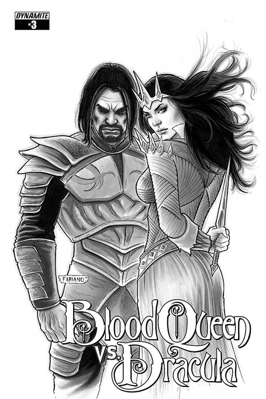 Blood Queen vs Dracula #3 Cover D Incentive Fabiano Neves Black & White Cover