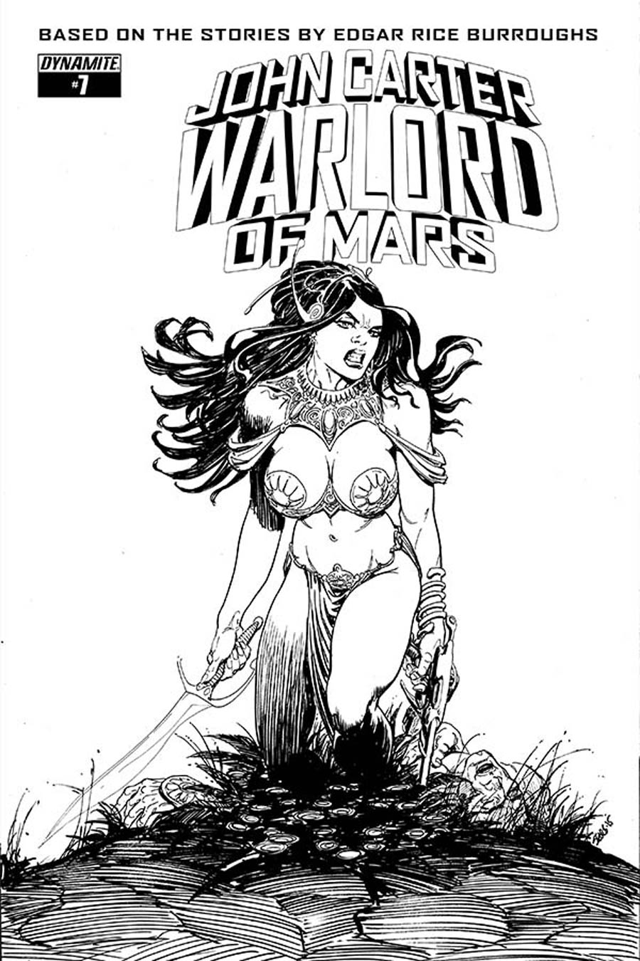 John Carter Warlord Of Mars Vol 2 #7 Cover E Incentive Bart Sears Black & White Cover