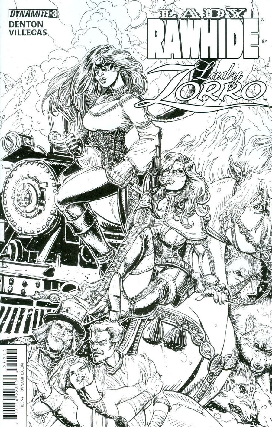 Lady Rawhide Lady Zorro #3 Cover B Incentive Joyce Chin Black & White Cover